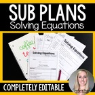 Solving Equations Emergency Substitute Math Plans