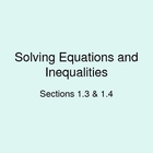 Solving Equations & Inequalities (ppt)