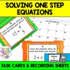 Solving Equations Task Cards and Recording Sheets Common C