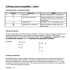 Solving Linear Inequalities - Basic for Busy Teachers