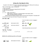 Solving One Step Equation Notes with Answer Key