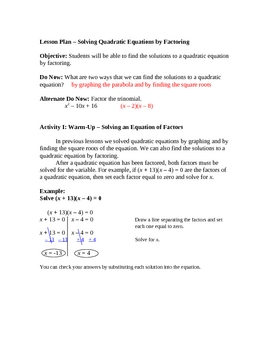 Solving Quadratic Equations by Factoring (aligned for Comm