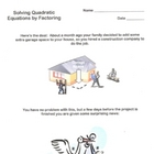 Solving Quadratic Equations by Factoring