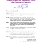 Solving Quadratic Equations by Using the Quadratic Formula