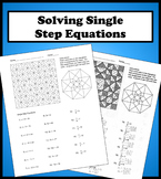 Solving Single Step Equations Color Worksheet