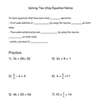 Solving Two Step Equation Notes with Examples and Answer Key