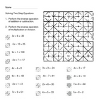 Solving Two Step Equations Color Worksheet Practice NA 2