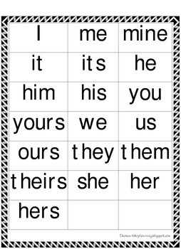 Sorting and Classifying Pronouns