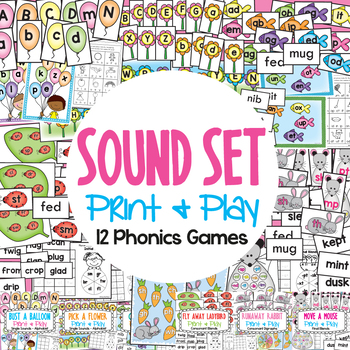 Phonics - Sound Set - 12 Games for Literacy Groups Centers
