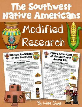 Southwest Native Americans Worksheet Modified for Lower Le