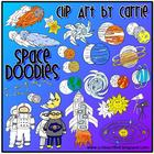 Space Doodles digital clip art combo (BW &amp; color PNG)