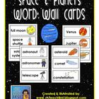 Space &amp; Planets Word Wall Pocket Chart Cards