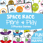 Digraphs Literacy Centers / Activities /Games - Space Race