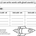 Space Theme Literacy Center: am, all, an word families, gl