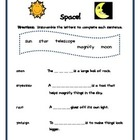 Space! Unscramble words to complete sentences