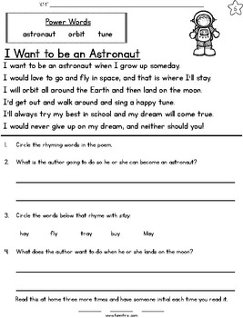 Space Weeklong Fluency Packet - Week 2 of April Packet