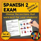 Spanish 2 (Intermediate) Midyear, Midterm, Final Exam