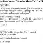 Spanish  Activities / Sports Spontaneous  Speaking Mat - S