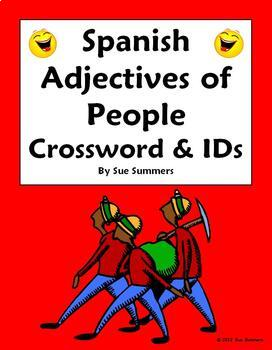 Spanish Adjectives of People Crossword