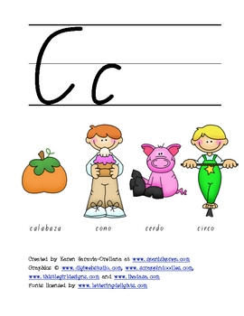 "Spanish Alphabet Vocabulary Handwriting Practice: Letter ""C"""