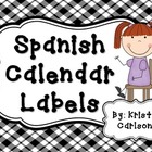 Spanish Calendar Labels