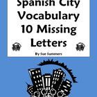 Spanish City Vocabulary Missing Letter Worksheet