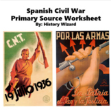 Spanish Civil War Worksheet and Writing Activity (Pre-Worl
