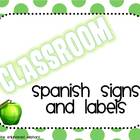 Spanish Classroom Signs, Labels, Word Wall Letters (Polka Dots)
