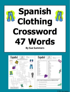 Spanish Clothing Crossword, Vocabulary IDs & Sentences