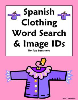 Spanish Clothing Word Search & Picture IDs - Substitute Lesson