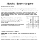 Spanish Commands Battleship!  - 7--page packet beginning to adv.