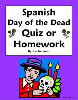Spanish Day of the Dead / Dia de los Muertos Quiz or Homework
