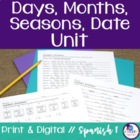 Spanish Days, Months, Seasons, Date Mini-Unit