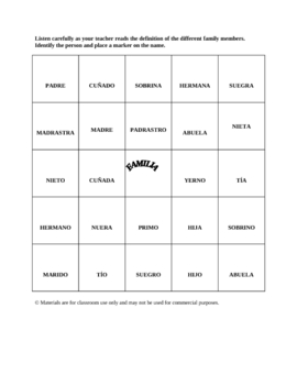 Spanish Family Bingo