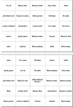 Spanish Greetings & Leave Takings Bingo Game