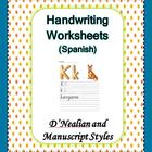 Spanish Handwriting Worksheets 4 Teachers (D'Nealian/Manuscript)