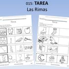 Spanish Homework:  015:  TAREA Las Rimas   Rhyming: To be shipped