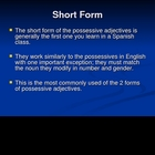 Spanish Possessive Adjectives