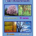 Spanish Poster  about the seasons in blue.