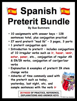 Spanish Preterit 28 Page Bundle of Practice, Reference & E
