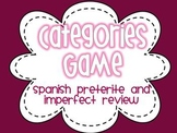 Spanish Preterite and Imperfect Review Categories Game