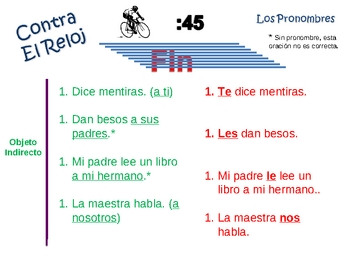 Spanish Pronoun (direct and indirect) Writing Activity -Po
