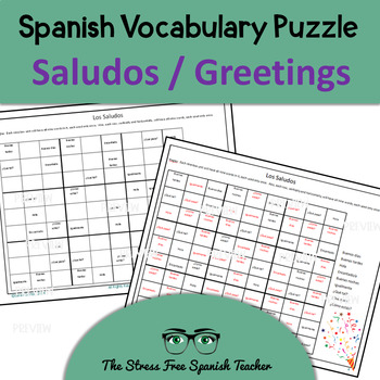 Spanish SUDOKU of Primeras Palabras- Beginner Level Vocabulary