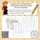 Spanish Stem-Changing Tic Tac Toe game and study sheet