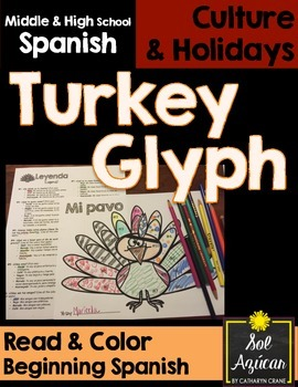 Spanish Thanksgiving Turkey Glyph: Read and Color - Beginner, Novice