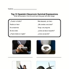 Spanish Top Ten Classroom Survival Phrases Worksheet