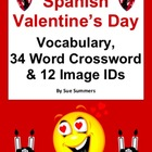 Spanish Valentine&#039;s Day 34 Word Crossword &amp; Picture IDs