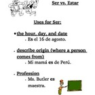 Spanish Verb Ser Notes and Practice Sentences
