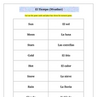 Spanish Weather Memory Game Activity: El Tiempo