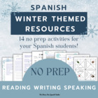 Spanish: Winter Activities PACKET! 46 pages Vocabulary Ver